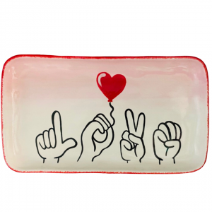 Love in ASL with a heart balloon on a platter