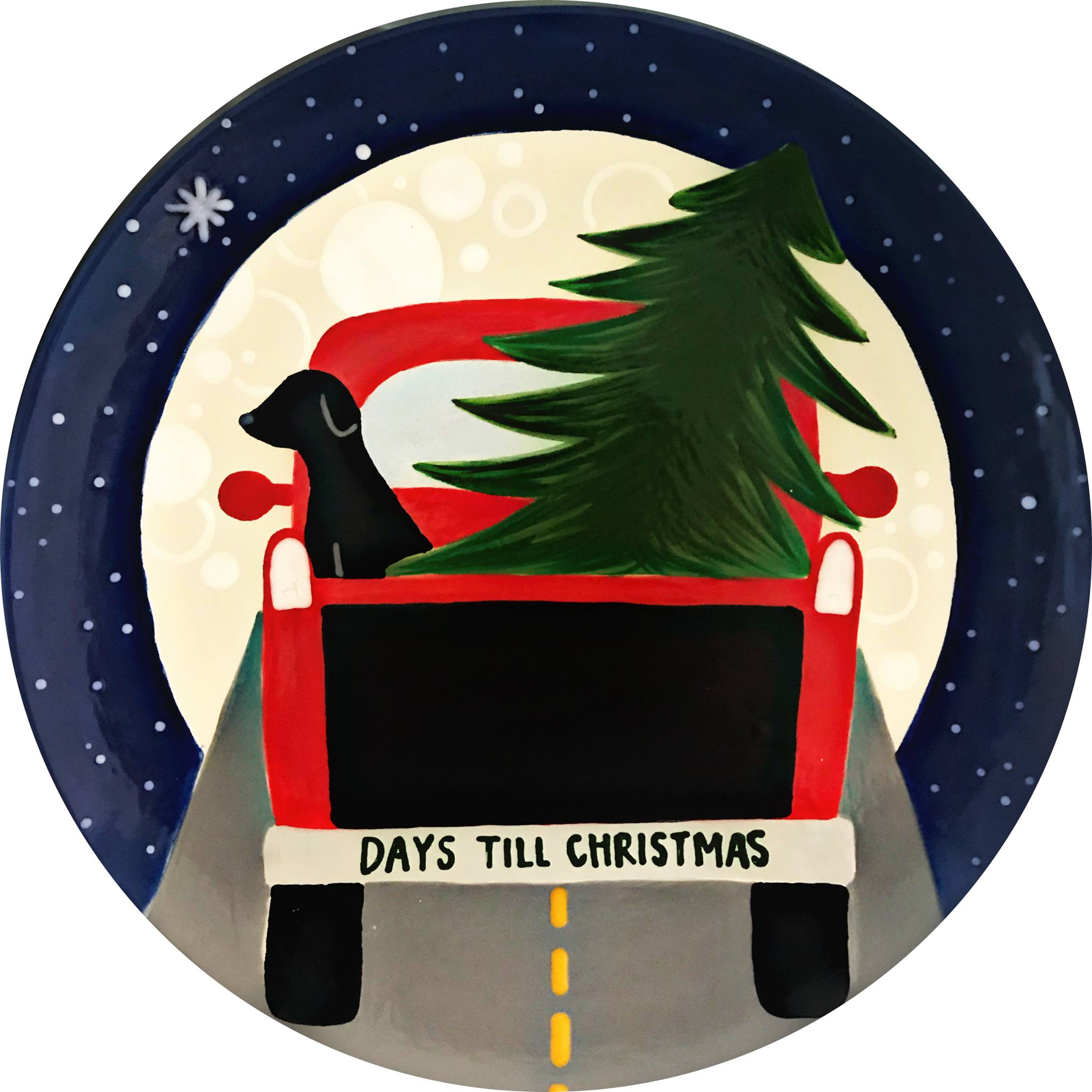 Red truck with black dog and Christmas tree