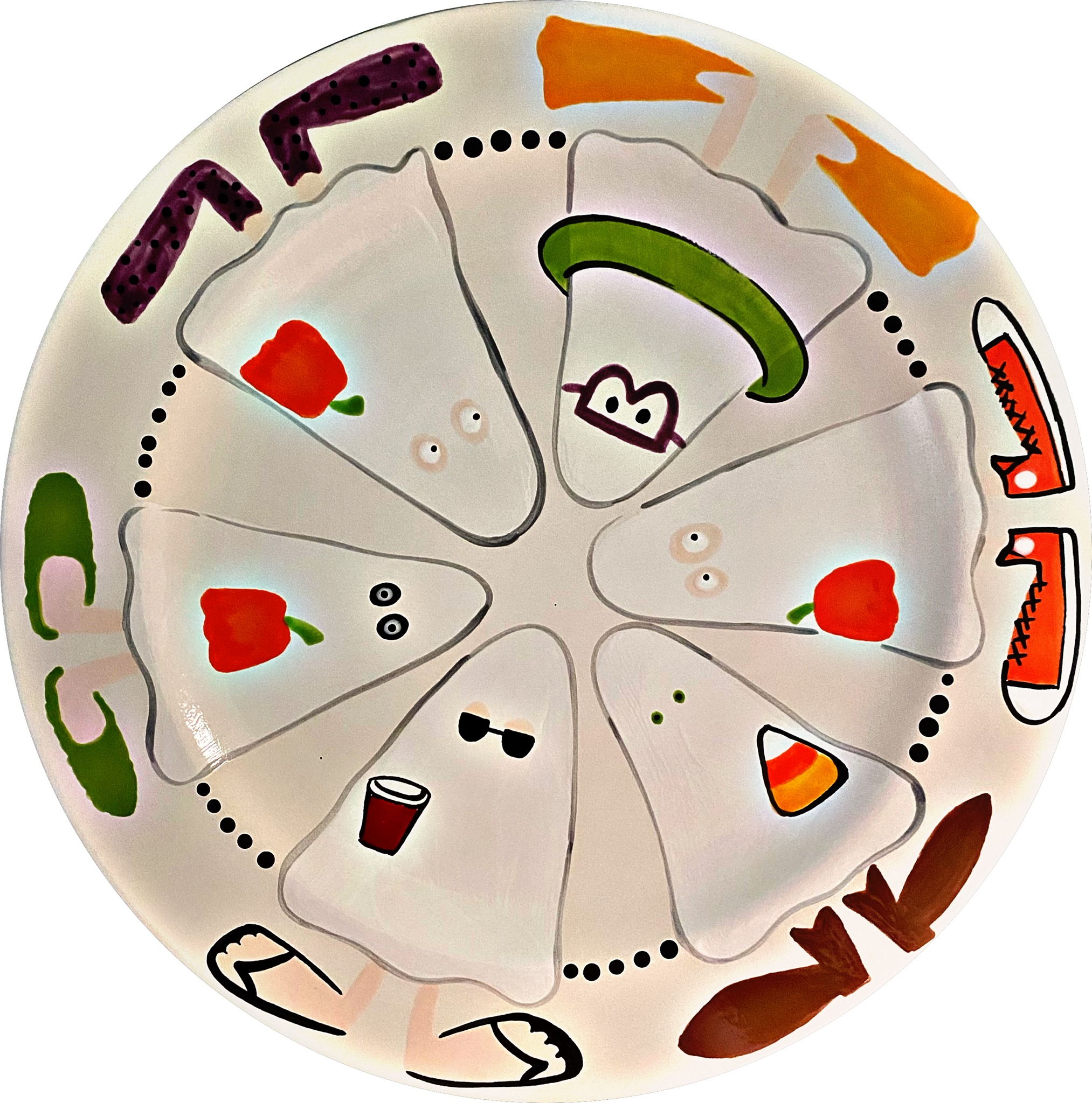 Cartoon ghosts in a circle plate