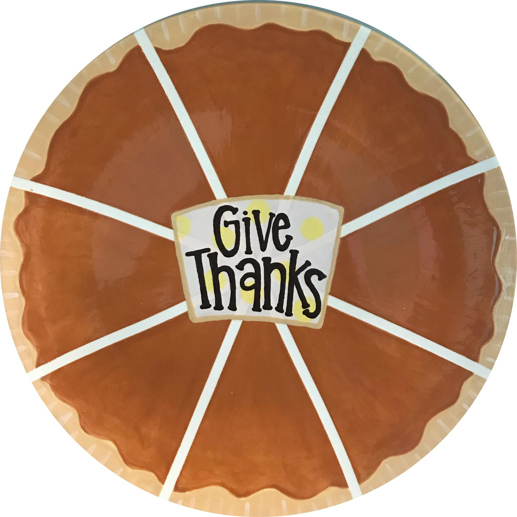"""""""Give Thanks"""" plate painted to look like a pumpkin pie"""