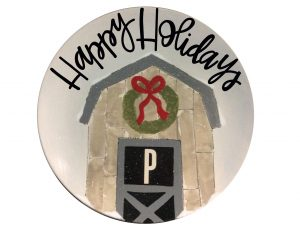 """barn with wreath """"happy holidays"""" plate"""