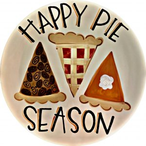 """""""Happy Pie Season"""" plate with 3 slices of pie plate"""