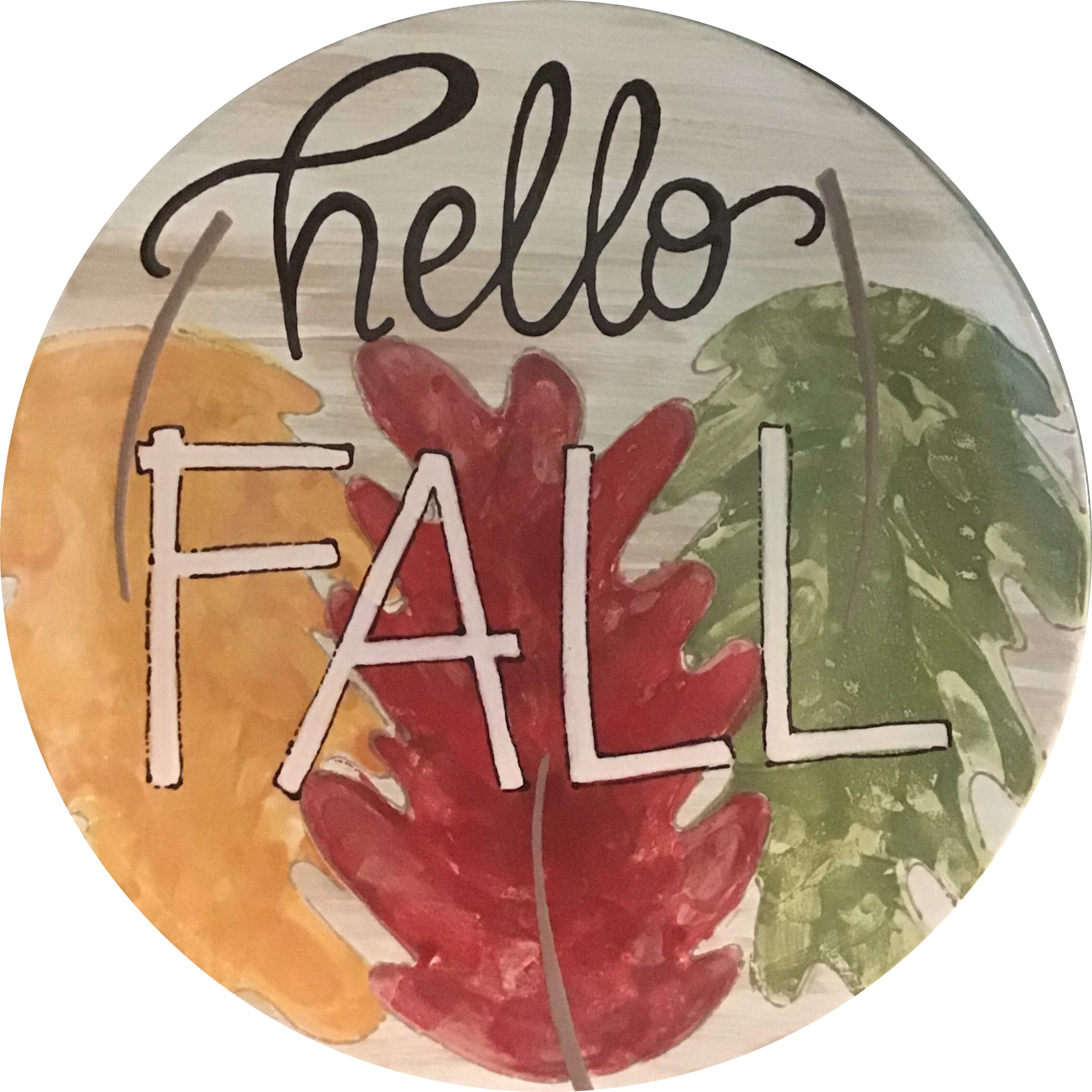 """""""Hello Fall"""" with leaf background plate"""