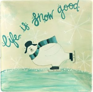 """ice skating polarbear with """"life is snow good"""""""
