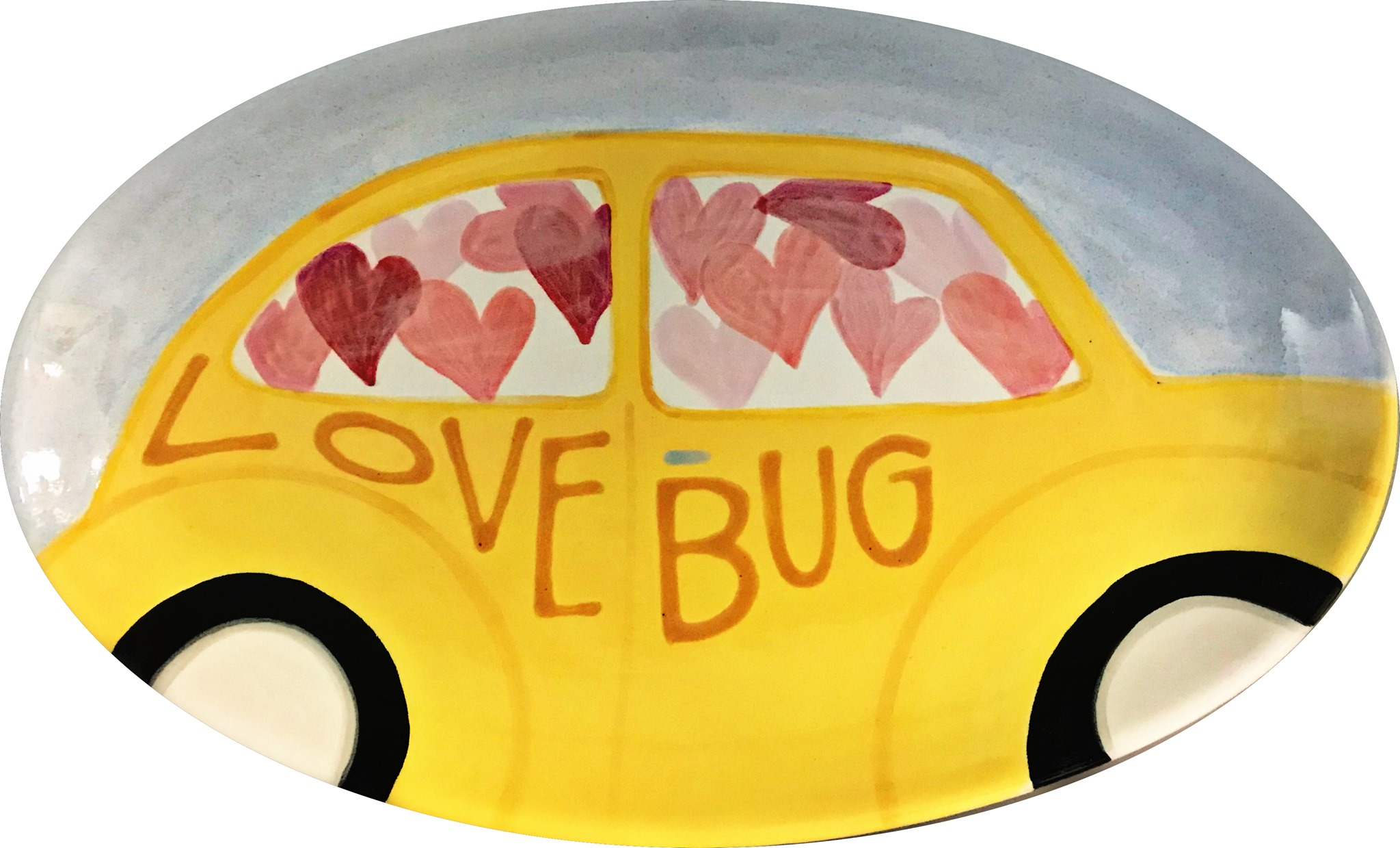 """""""love bug"""" platter with a yellow VW bug"""