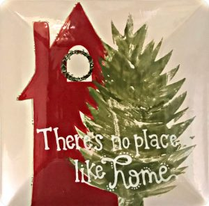 """""""theres no place like home"""" plate with red house and tree"""