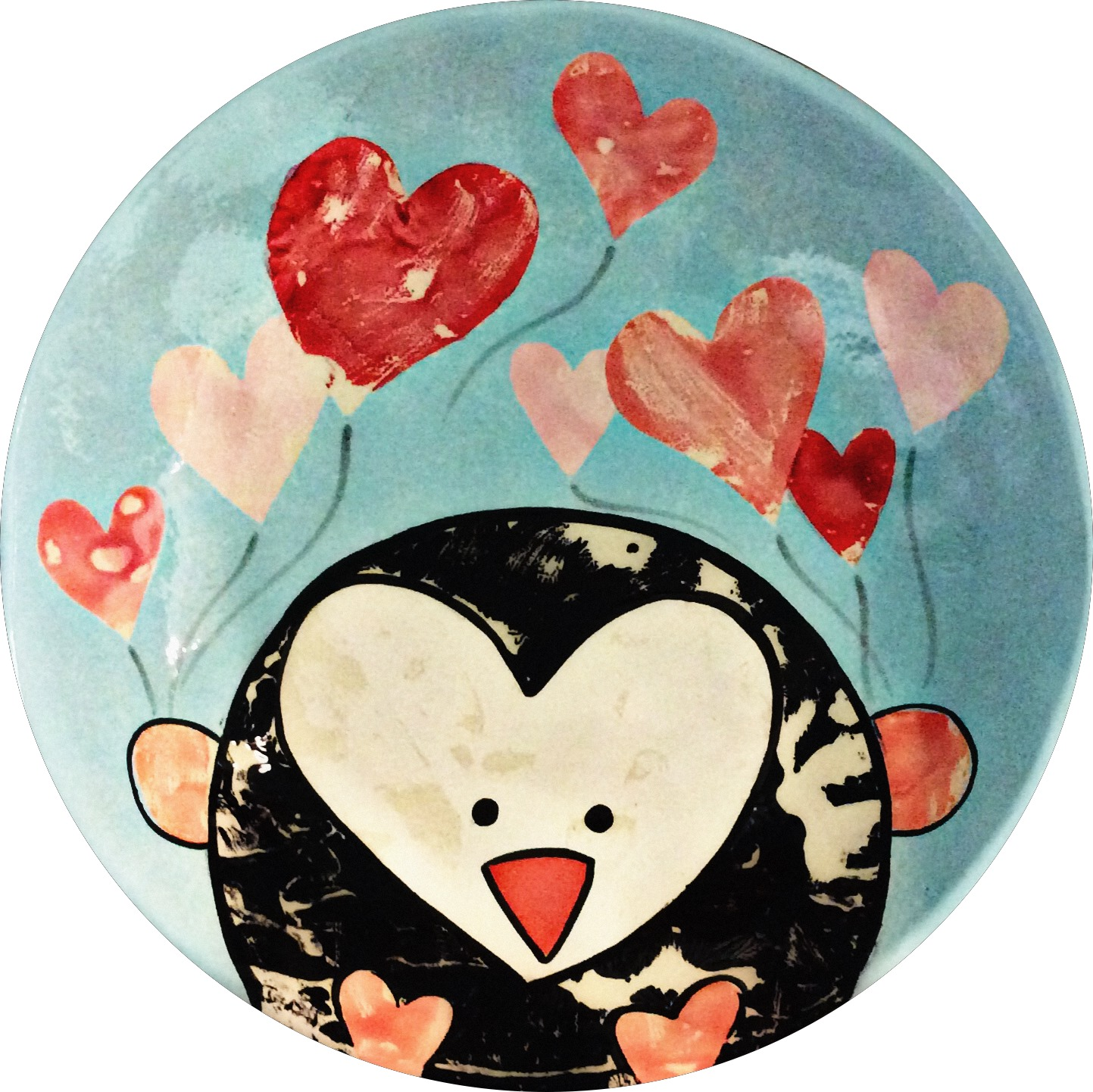 penguin with heart balloons plate