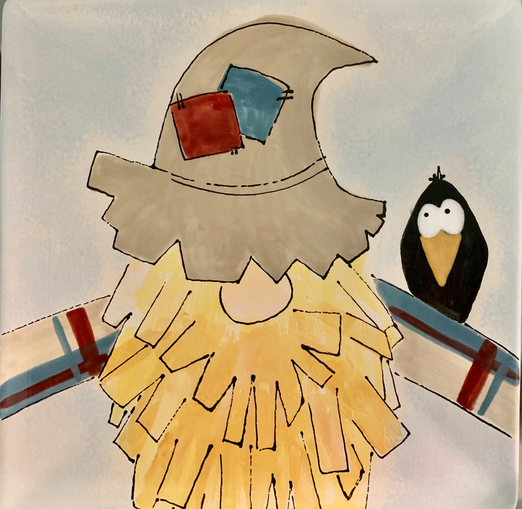 Scarecrow gnome with crow on shoulder plate