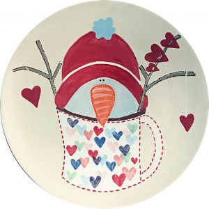 snowman in a mug with hearts plate