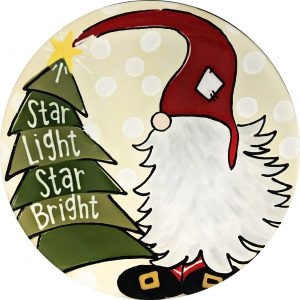 Gnome and Christmas Tree Star Light Star Bright Plate