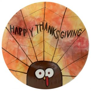"""""""Happy Thanksgiving"""" Turkey head and tail plate"""
