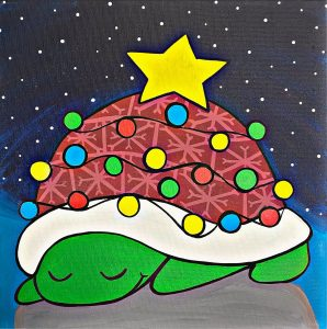 Turtle with Christmas Tree Shell Plate